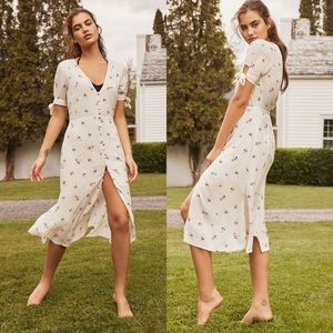 UO Melanie Floral Button Down Midi Dress White XS